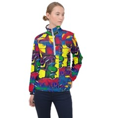 Colorful Shapes Abstract Painting                      Women Half Zip Windbreaker by LalyLauraFLM