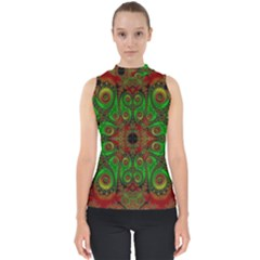 Abstract Fractal Pattern Artwork Pattern Mock Neck Shell Top