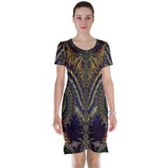 Abstract Fractal Pattern Artwork Short Sleeve Nightdress