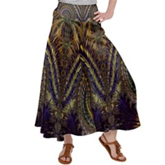 Abstract Fractal Pattern Artwork Satin Palazzo Pants