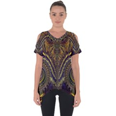Abstract Fractal Pattern Artwork Cut Out Side Drop Tee