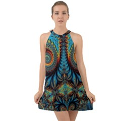Abstract Art Fractal Creative Halter Tie Back Chiffon Dress by Sudhe