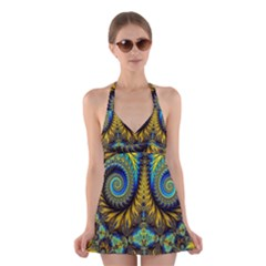Abstract Art Fractal Creative Halter Dress Swimsuit  by Sudhe