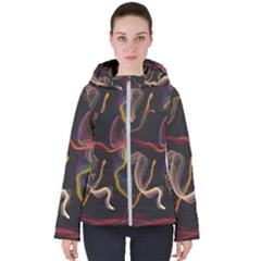 Abstract Smoke                     Women s Hooded Puffer Jacket