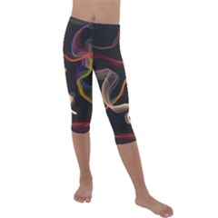 Abstract Smoke                   Kids  Lightweight Velour Capri Leggings by LalyLauraFLM