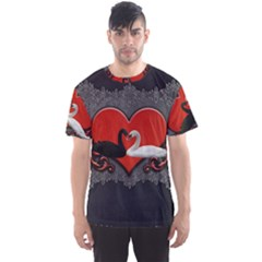 In Love, Wonderful Black And White Swan On A Heart Men s Sports Mesh Tee by FantasyWorld7