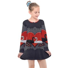 In Love, Wonderful Black And White Swan On A Heart Kids  Long Sleeve Dress by FantasyWorld7