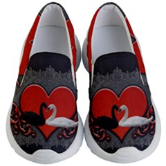 In Love, Wonderful Black And White Swan On A Heart Kids  Lightweight Slip Ons by FantasyWorld7