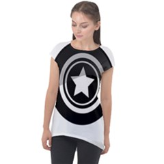 Star Black Button Cap Sleeve High Low Top