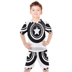 Star Black Button Kids  Tee And Shorts Set by Pakrebo