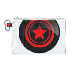 Star Black Red Button  Canvas Cosmetic Bag (large)