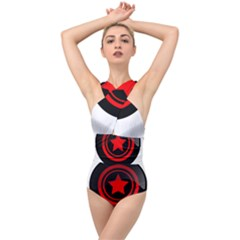 Star Black Red Button  Cross Front Low Back Swimsuit by Pakrebo
