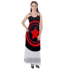 Star Black Red Button  Sleeveless Velour Maxi Dress