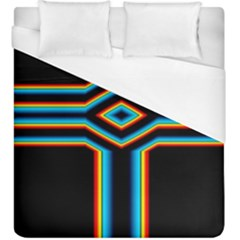 Cross Abstract Neon Duvet Cover (king Size) by Pakrebo