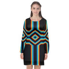 Cross Abstract Neon Long Sleeve Chiffon Shift Dress