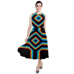 Cross Abstract Neon Round Neck Boho Dress