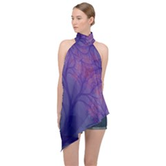 Art Fractal Artwork Creative Halter Asymmetric Satin Top by Pakrebo