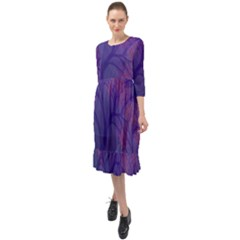 Art Fractal Artwork Creative Ruffle End Midi Chiffon Dress