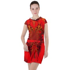 Digital Arts Fractals Futuristic Red Yellow Black Drawstring Hooded Dress