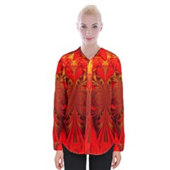 Digital Arts Fractals Futuristic Red Yellow Black Womens Long Sleeve Shirt
