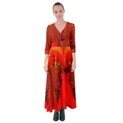 Digital Arts Fractals Futuristic Red Yellow Black Button Up Maxi Dress