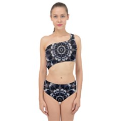 Abstract Digital Art Artwork Black White Spliced Up Two Piece Swimsuit