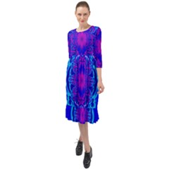 Digital Art Artwork Fractal Color Abstact Ruffle End Midi Chiffon Dress