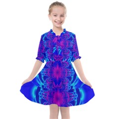 Digital Art Artwork Fractal Color Abstact Kids  All Frills Chiffon Dress by Pakrebo