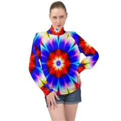 Abstract Digital Art Artwork Colorful High Neck Long Sleeve Chiffon Top by Pakrebo