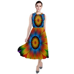 Abstract Digital Art Artwork Round Neck Boho Dress
