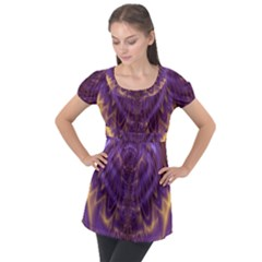 Abstract Art Artwork Fractal Design Puff Sleeve Tunic Top by Pakrebo