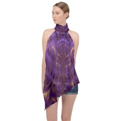Abstract Art Artwork Fractal Design Halter Asymmetric Satin Top by Pakrebo