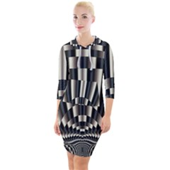 Abstract Art Art Design Modern Art Quarter Sleeve Hood Bodycon Dress