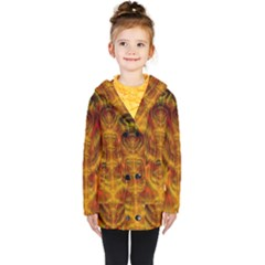 Abstract Art Artwork Fractal Design Kids  Double Breasted Button Coat by Pakrebo