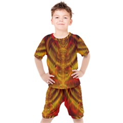 Abstract Art Artwork Fractal Design Kids  Tee And Shorts Set