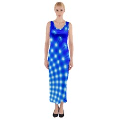Digital Arts Fractals Futuristic Blue Fitted Maxi Dress