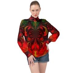 Digital Arts Fractals Futuristic Colorful High Neck Long Sleeve Chiffon Top by Pakrebo