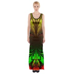 Digital Arts Fractals Futuristic Art Thigh Split Maxi Dress