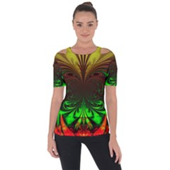 Digital Arts Fractals Futuristic Art Shoulder Cut Out Short Sleeve Top