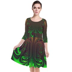 Digital Arts Fractals Futuristic Art Quarter Sleeve Waist Band Dress
