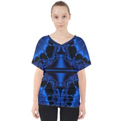 Art Fractal Artwork Creative Blue Black V-neck Dolman Drape Top