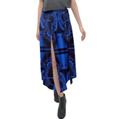 Art Fractal Artwork Creative Blue Black Velour Split Maxi Skirt