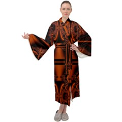 Art Fractal Artwork Creative Black Brown Maxi Tie Front Velour Kimono