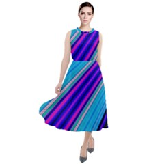 Background Colors Colorful Design Round Neck Boho Dress
