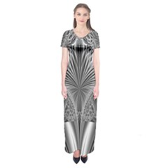 Crystal Design Pattern Short Sleeve Maxi Dress