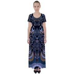 Fractal Art Artwork Design High Waist Short Sleeve Maxi Dress by Pakrebo