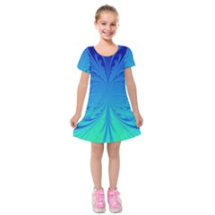 Digital Arts Fractals Futuristic Blue Magenta Kids  Short Sleeve Velvet Dress