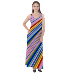 Background Colors Colorful Design Sleeveless Velour Maxi Dress