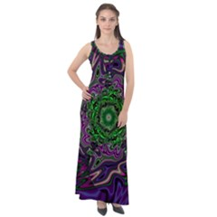 Digital Art Artwork Fractal Pattern Sleeveless Velour Maxi Dress