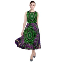 Digital Art Artwork Fractal Pattern Round Neck Boho Dress
